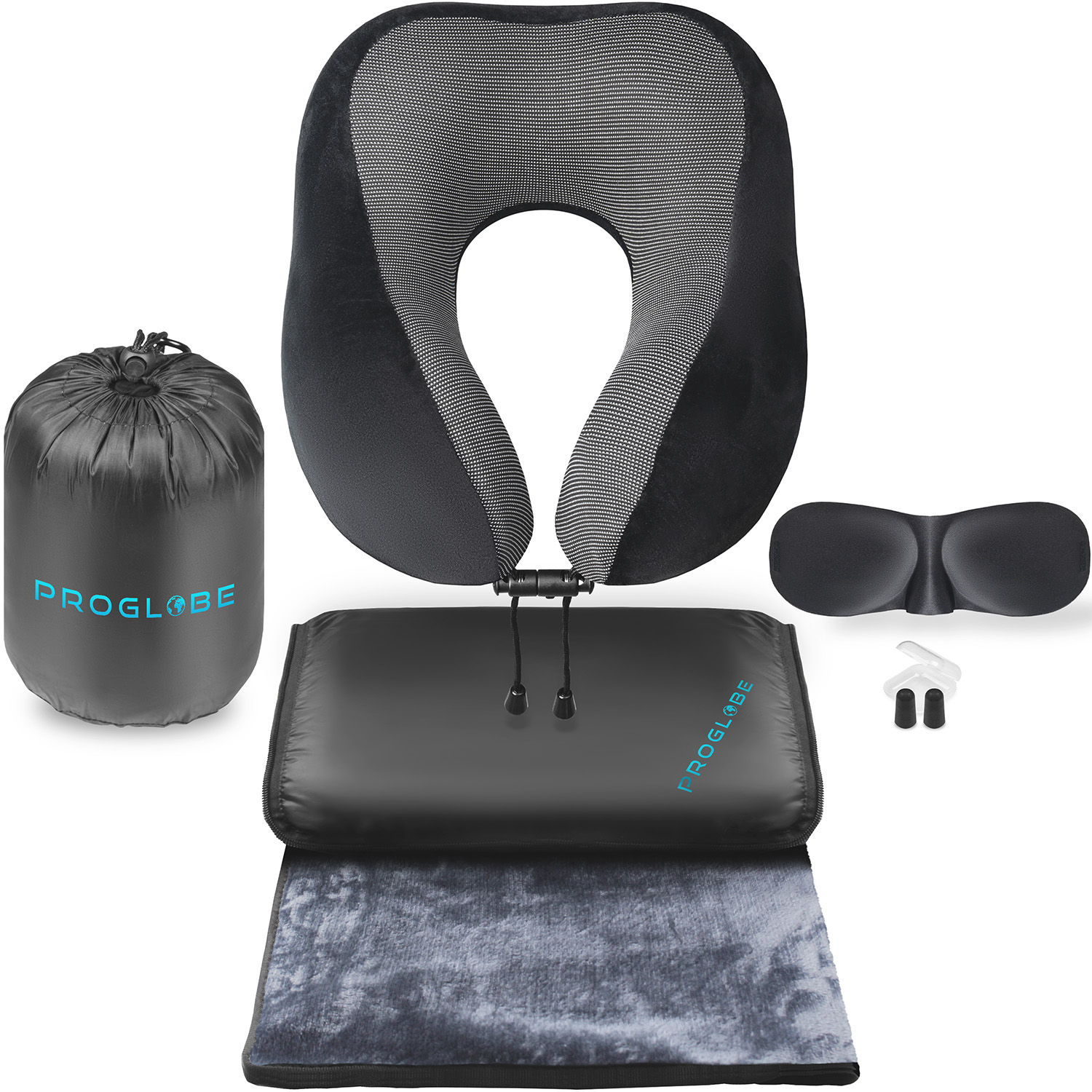 Proglobe Travel Blanket Luxury Travel Set – Ergonomic Airplane Neck Pillow 100% Pure Memory Foam and Super Soft Fleece Blanket – Premium 3D Sleep Mask & Earplugs