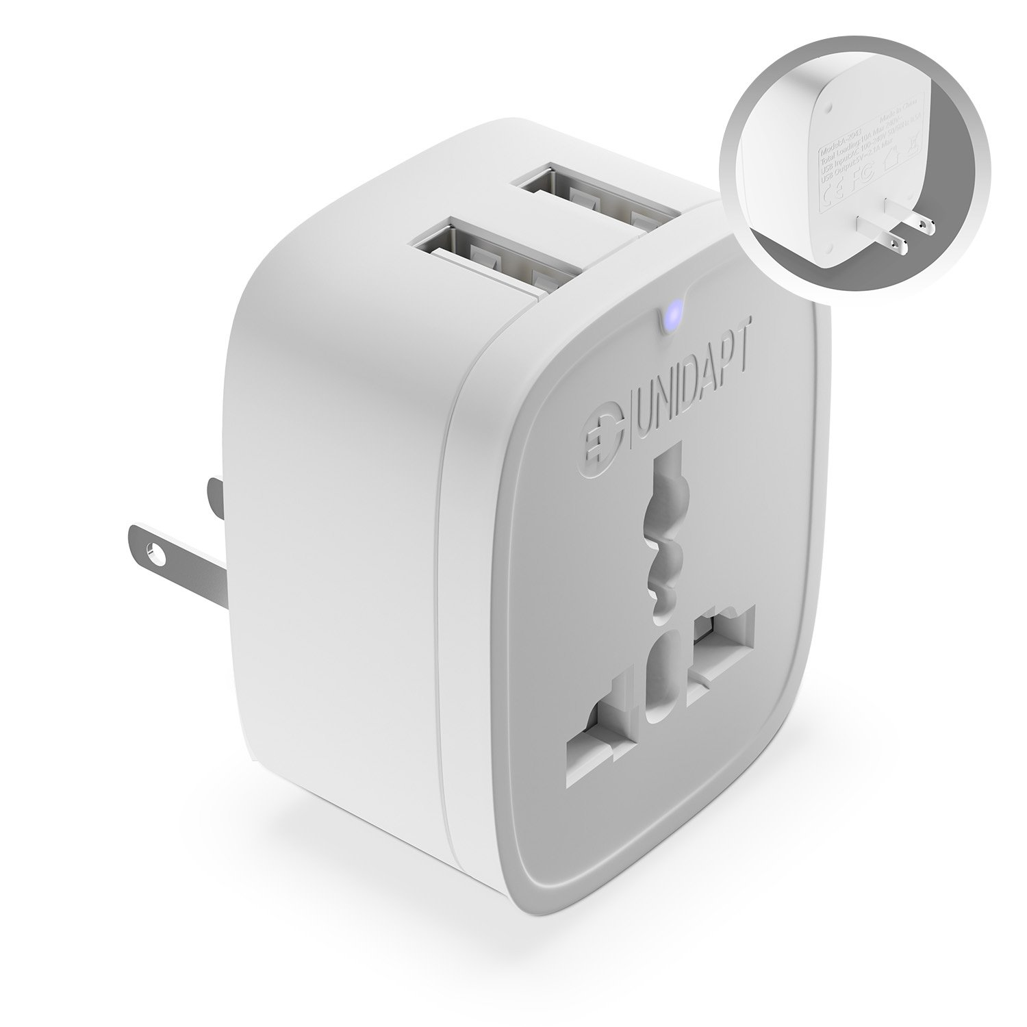 US Plug Adapter with 2 USB Outlet – Unidapt American USB Wall Charger, Travel from EU, Australia, China, UK to USA, Canada, Mexico, Japan Type-A