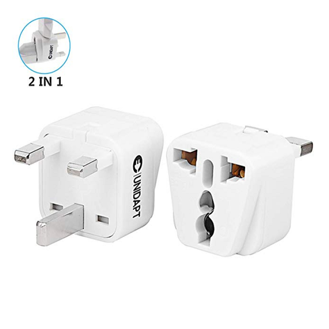 UK Plug Adapter- Unidapt US to UK England (Hong Kong Ireland) Plug Adapter – Charge 2 Devices at Once – Type G (Pack of 2 UK)