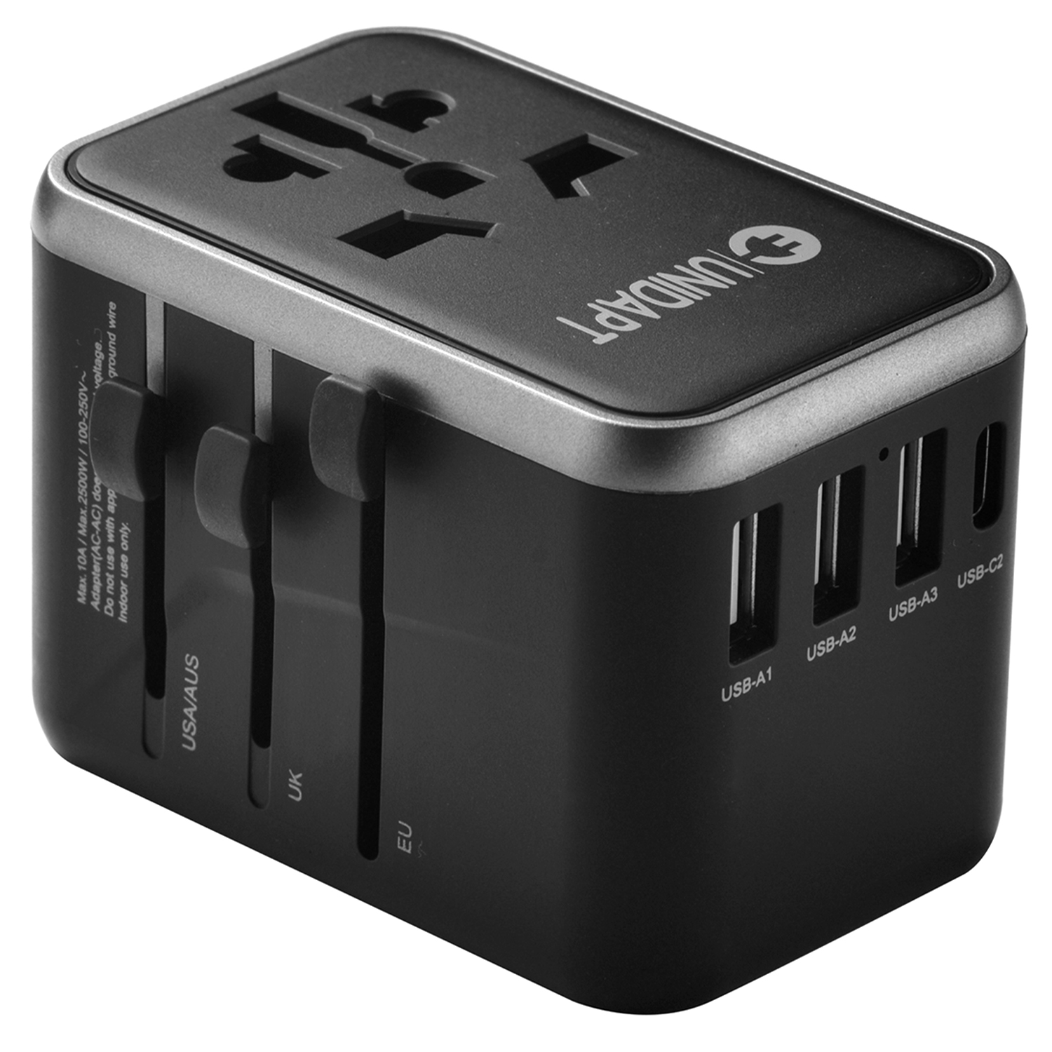 Universal Travel Adapter 61W Universal Travel Adapter – GaN Type-C Charger, 3USB-A & 2 USB-C PD Fast Wall Plug Adapter