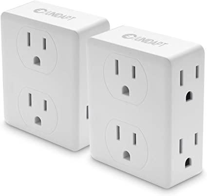 Unidapt 2 to 6 Multiple Outlet Electrical Outlets Splitter, Spaced side Outlet, Power Plug Expander for Home Hotel Office Dorm, 2-Pack